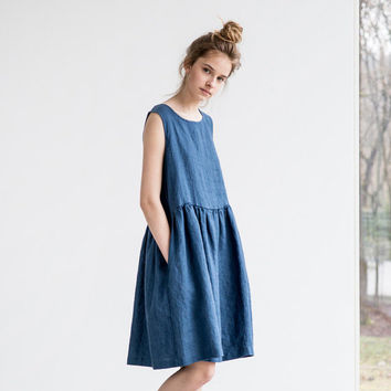 Loose linen sleeveless summer dress in denim color / Washed linen dress