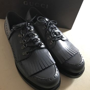 New $945 Gucci Men's Oxford Shoes  Dark Gray 10 ( US 11 ) Italy