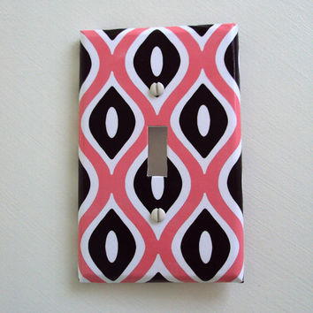 Modern Diamonds Switchplate Cover in Pink and Black
