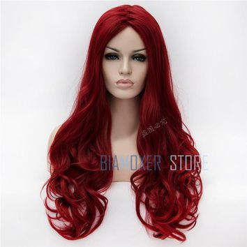 Biamoxer Poison Ivy 70cm Wine Red Long Wavy Cosplay Wigs Heat Resistant Cosplay Costume Wig