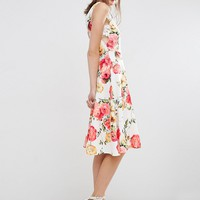 ASOS Lace Side Midi Skater Dress In Floral Print at asos.com