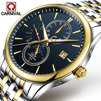 Carnival Watch Men Phases moon Automatic Mechanical Gold Stainless Steel Waterproof multifunction Black Dial Watches