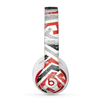 The Red-Gray-Black Abstract V3 Pattern Skin for the Beats by Dre Studio (2013+ Version) Headphones