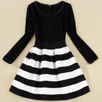 Black Long Sleeve Striped A-Line Dress