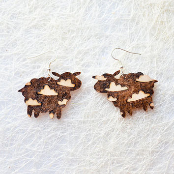 Wooden Cloud Sheeps Earrings - Eco friendly Pyrography Jewelry - Woodburning Wood Earrings