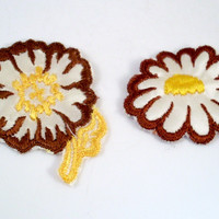 Vintage Sew On Patch Brown and Yellow Flowers 1970s Set of 2