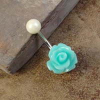 Aqua Blue Rose Flower Belly Button Jewelry by MidnightsMojo