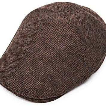 Muan Flat Cap Vintage Herringbone Wool Hunting Hat Newsboy Irish Cabbie Cap (6. Brown)
