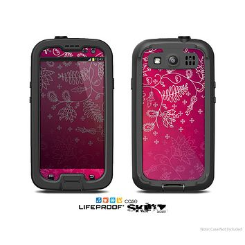 The Vibrant Pink & White Branch Illustration Skin For The Samsung Galaxy S3 LifeProof Case