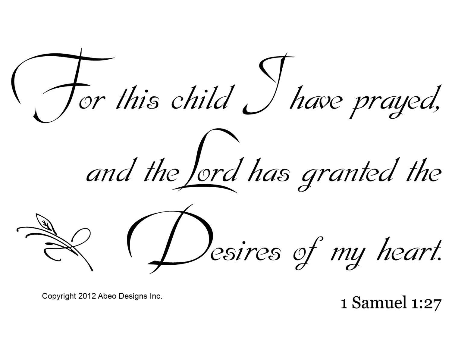 1 samuel 1 27 wall decal  for this child from abeo designs