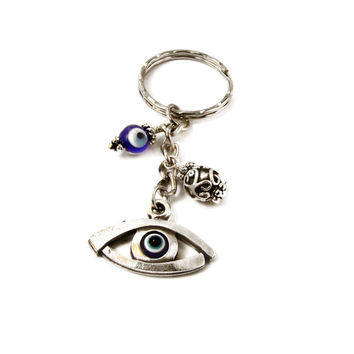 Evil Eye Keychain, Greek Mati, Hamsa, Metal & Blue Glass Evil Eye Beads