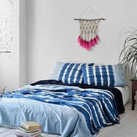 Noodle Indigo Stripe Bed Blanket