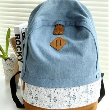 Fashion Floral Lace + Denim Canvas Bag