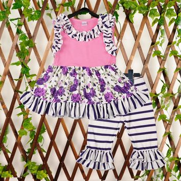 Persnickety Remake Baby Girls 2 Pcs Sets Purple Print Top Floral Capris Cotton Hot Sale Kids Spring Summer Clothing 2GK801-085