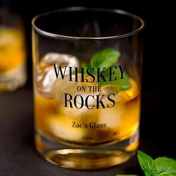 Personalized Whiskey Glasses with Whiskey Rocks Print (Pack of 1)
