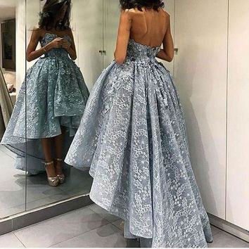 Dusty Blue High Low Ball Gowns Prom Dresses 2017 Fashion 3D Flowers Long Back Short Front Lace Evening Dress Chic Robe de soiree