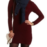 Scoop Back Sweater Dress by Charlotte Russe - Oxblood