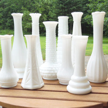 Wedding decor - Milk glass vases (Lot of 10) - Cottage chic - Country wedding - Restaurant decor (READY to ship)