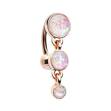 Rose Gold Triple Glitter Opal Reverse WildKlass Belly Button Ring