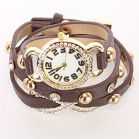 Brown Faux Leather High Polish Metal Infinity Pendant Watch Bracelet