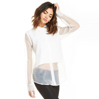 White Sheer Mesh Collared  Long Sleeve Top