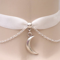 Solid Tibetan Silver Crescent MOON Charm With CHAIN 16mm WHITE Velvet Ribbon Choker - kk.. or choose another colour velvet :)