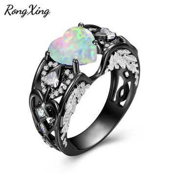 RongXing Trendy White Fire Opal Birthstone Rings For Women Love Heart Angel Wings Ring Zircon Black Gold Filled Jewelry RB1424