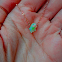 Large Rough Fire Opal Pendant & 925 Sterling Silver; Oxidized Sterling Silver; Rose Gold Fill; 14k Gold Fill Chain Necklace