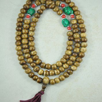 Brown Yak Bone Mala 108 Beads with Turquoise Nuggets