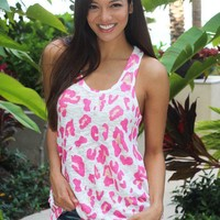 White & Pink Leopard Tank Top