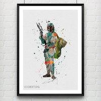 Star Wars Poster, Boba Fett Walker Watercolor Art Print, Kids Bedoom Decor, Minimalist Home Decor, Not Framed, Buy 2 Get 1 Free! [No. 16]