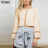 YOINS 2016 Spring New Fashion Women Crop Top Casual Holloe Out Long Bell Sleeves Short Tee Sexy Bohemian Brand Clothing