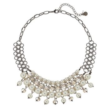Simply Vera Vera Wang Bead Bib Necklace (White)