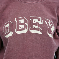 Obey University Sweatshirt in Burgundy - Urban Outfitters