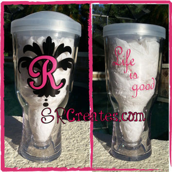 Personalized or Monogrammed Damask Flourish - Vino2Go, Brew2Go, or Tumbler