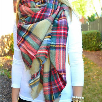 FLASH SALE! Plaid Blanket Scarf Zara Inspired Extra Large Cotton Square Fabric Wrap Shawl Limited Edition
