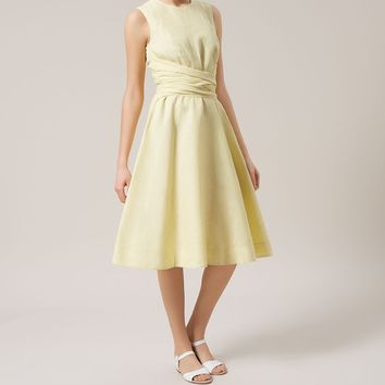 Hobbs London Yellow Twitchill Fit & Flare Cotton Blend Wrapped Waist Dress £129 | eBay