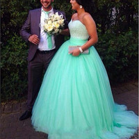 Mint Green Ball Gown Prom Dress for Special Occasion Hot On Sale Beaded Princess Evening Dresses vestidos de gala