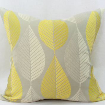 """Yellow & gray pillow cover. HGTV Loose Leaf citrine decorative throw pillow. gold throw pillow cover. 20"""" x 20"""" pillow."""