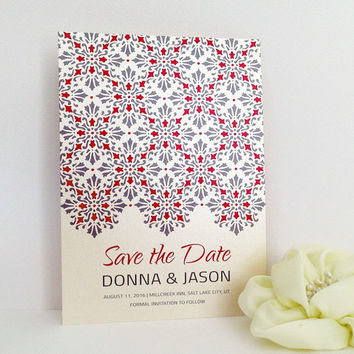 Save the Date - Ornate wedding invitation printed on luxury cream pearlescent paper - Victorian red and gray tiles