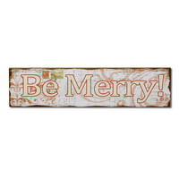 """Decorative Christmas Wood Wall Sign Plaque """"Be Merry"""" White Red Home Decor"""