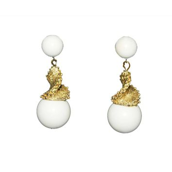 1960s Triafri White Drop Earrings with Gold Spirals