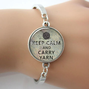 Keep Calm and Carry Yarn knitters pendant, knitting bracelet charm, knitting jewelry, crochet lover, glass charm bracelet & bangle.