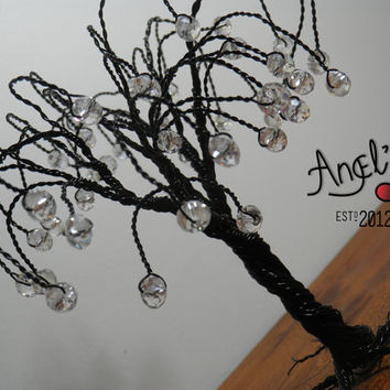 Black lucky tree with authentic Swarovski diamonds, minimal, modern design, home decoration