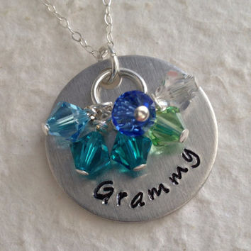 "Hand Stamped ""Grammy"" Necklace with 6 Swarovski Birthstone Crystals / Mom Necklace with Children's Birthstones / Grandma Pendant Swarovski"