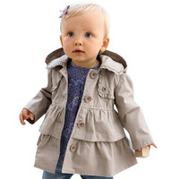 Baby Girls Kids Hooded Long Wind Trench Coat Jacket Windbreaker Autumn Outerwear Clothes