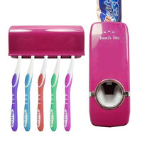 Automatic Auto Toothpaste Dispenser +5 Toothbrush Holder Set Wall Mount wine red = 5987833089