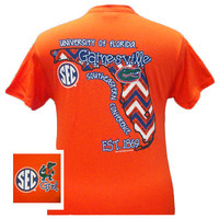 Florida Gators Preppy Chevron State Girlie Bright T Shirt