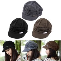 Korean Version Spring and Winter Gorro Cap Lady's Fashion Drape Delicate Women Hats 3 Solid Color High Quality Free Shipping