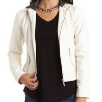 Faux Leather Hooded Moto Jacket by Charlotte Russe - White Combo